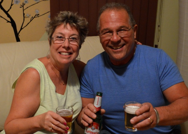 Enjoying their first Croatian beer in Croatia!